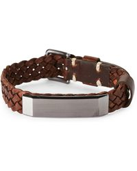 Fossil - Brown Leather Braided Bracelet - Lyst