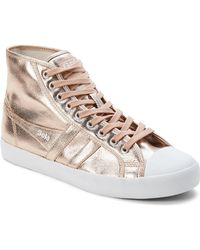 Gola - Rose Gold Coaster Metallic High-top Sneakers - Lyst