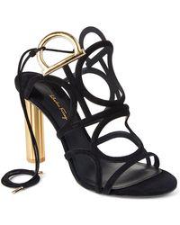 Ferragamo - Black Suede Caged Sandals - Lyst