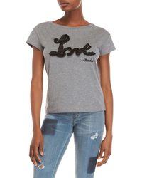 Love Moschino - Chiffon Trim Logo Tee - Lyst