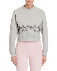 Giamba - Embroidered Maiden Cropped Sweatshirt - Lyst