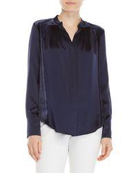 Adria Moss - Charm Velvet-paneled Silk Blouse - Lyst