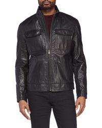 Cole Haan - Genuine Leather Trucker Jacket - Lyst