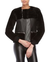 Faith Connexion - Real Fur Paneled Leather Jacket - Lyst