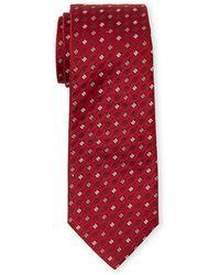 Armani Red Geo Silk Tie