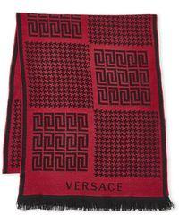 e33c4b8b10f Lyst - Versace Two-piece Greek Key Logo Scarf And Beanie Set in Pink