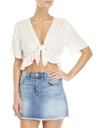 Lush - Tie-front Eyelet Top - Lyst