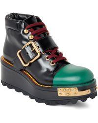 Prada - Black & Green Platform Wedge Combat Boots - Lyst