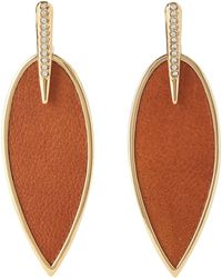 Vince Camuto - Brown & Gold-tone Leather Feather Earrings - Lyst