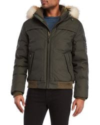 Pajar - Real Fur Trim Down Bomber Jacket - Lyst