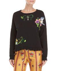 Manoush - Black Garden Embellished Sweatshirt - Lyst
