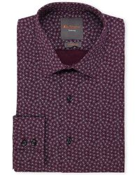 Ben Sherman - Burgundy & Blue Paisley Print Slim Fit Dress Shirt - Lyst
