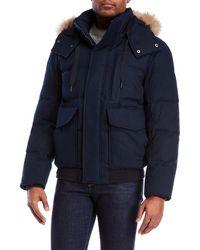 Marc New York - Ink Bohlen Real Fur Trim Hooded Down Coat - Lyst