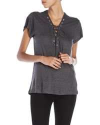 Olivaceous - Linen-Blend Distressed Lace-Up Tee - Lyst