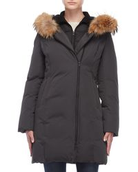 SOIA & KYO - Real Fur Collar Bibbed Down Coat - Lyst