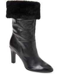 Gabriella - Black Real Fur-cuffed Leather Booties - Lyst