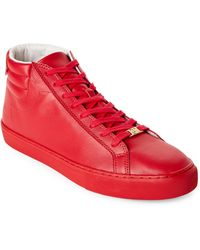 True Religion - True Red Leather High Top Sneakers - Lyst