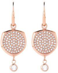 Michael Kors - Rose Gold-tone Pave Disc Drop Earrings - Lyst