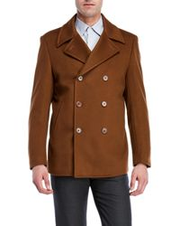 John Varvatos | Wool-blend Vicuna Double-breasted Peacoat | Lyst