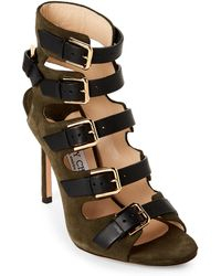 Jimmy Choo - Army Green & Black Caged Suede Sandals - Lyst