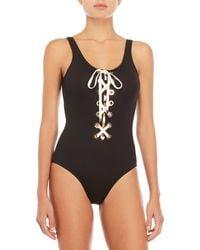 10 Crosby Derek Lam - Black & White Lace-up One-piece Swimsuit - Lyst