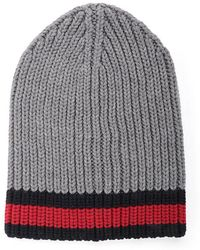 435e8d5c257c4 Lyst - Gucci Cable Knit Beanie Hat in White for Men