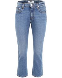 MSGM Logo Printed Cropped Jeans - Blue