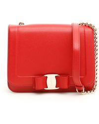 4f560a1b847c Lyst - Ferragamo Vara Bow Shoulder Bag in Red