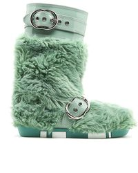 Miu Miu - Green Eco Shearling Moon Boots - Lyst