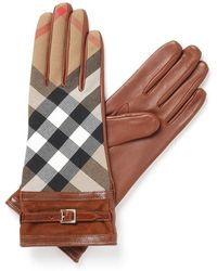 Burberry - Nicola Check Panel Gloves - Lyst
