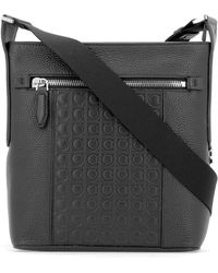 Lyst - Ferragamo Gancini Leather Shoulder Bag in Black 55daeec4630b2