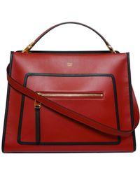Fendi Runaway Mini Tonal Shopping Bag in Red - Lyst 1945df2ee03b8