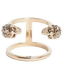 Alexander McQueen - Twin Skull Double Ring - Lyst