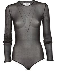 Maison Margiela - Mesh Long Sleeves Bodysuit - Lyst