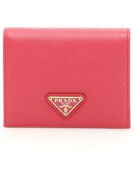 Prada - Leather Saffiano Wallet - Lyst