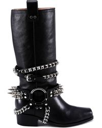 Moschino - Studded Leather Boots - Lyst