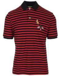 9d0c7846380 Gucci - Bee Patch Striped Polo Shirt - Lyst