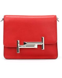 Tod's - Double T Leather Crossbody Bag - Lyst