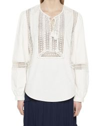06f6f20c8 Lyst - Tory Burch Embroidered Crinkle-gauze Top in White