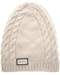 6a2d54ee636 Gucci Textured Wool Beanie Hat in White - Lyst