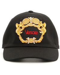90b76553dfd02 Versace - Black Blasone Baroque Embroidered Cotton Cap - Lyst