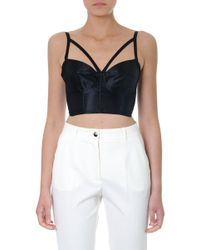 7dfe4796389 Dolce & Gabbana Chantilly Lace Bustier Top in White - Lyst