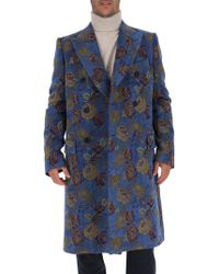 Dolce & Gabbana - Double Breasted Jacquard Coat - Lyst