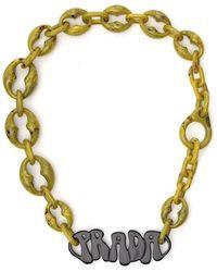36ba0877a6fe4 Lyst - Prada Animalier Quartz-pendant Necklace in Metallic