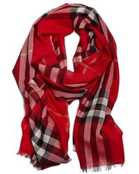 Burberry - Checked Woven Scarf - Lyst
