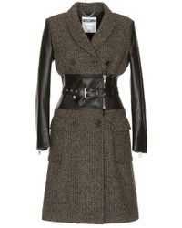 Moschino - Double Breasted Belted Coat - Lyst