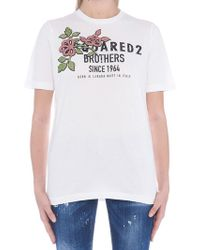 DSquared² - 'brothers' Flower T-shirt - Lyst