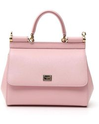 1ea882acf2 Lyst - Dolce   Gabbana Sicily Dauphine Leather Top Handle Bag in Pink