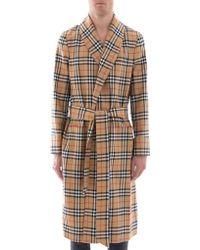 Burberry - Check Waist Tie Coat - Lyst
