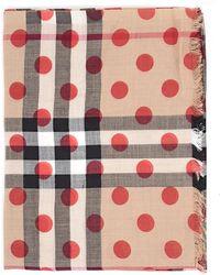 Burberry - Polka Dot House Check Scarf - Lyst